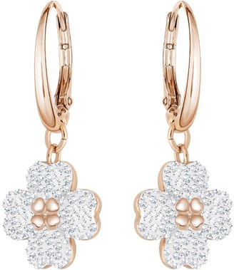 Swarovski Women's Latisha Hoops Pierced Earrings Set of Crystal Flower Earrings with Rose-Gold Tone Plating from the Latisha Collection