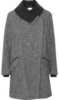 Vince Leather-Trimmed Wool And Cotton-Blend Coat