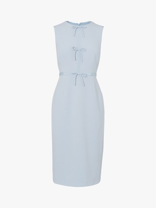 LK Bennett Rosamund Bow Detail Occasion Dress, Pale Blue
