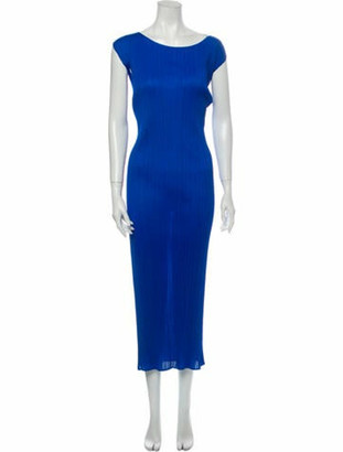 Pleats Please Issey Miyake Scoop Neck Long Dress Blue