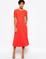 Asos Textured Pleated Midi Dress