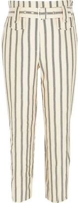 River Island Girls cream stripe belted trousers