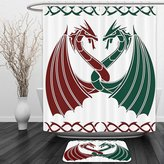 Vipsung Shower Curtain And Ground MatCeltic Decor Collection Dragons Themed Design Mythical Early Medieval Scandinavian Celtic Castle Knights Print Green RedShower Curtain Set with Bath Mats Rugs