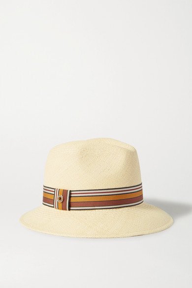 Loro Piana The Suitcase Stripe Ingrid Grosgrain-trimmed Toquilla Straw Panama Hat - White