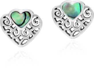 Aeravida Handmade Romantic Filigree Heart with Abalone Shell Inlay Stud Earrings