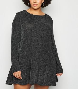 New Look Mela Curves Glitter Tunic Dress