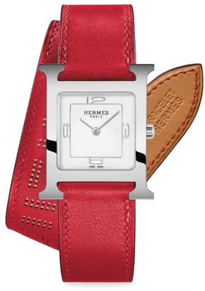 Hermes Heure H 26MM Stainless Steel & Leather Double-Wrap Strap Watch