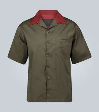 Prada Short-sleeved camp collar shirt with logo