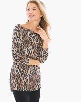 Chico's Winni Cheetah Cowl-Neck Top