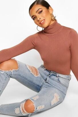 boohoo Petite Fine Knit Roll Neck Sweater