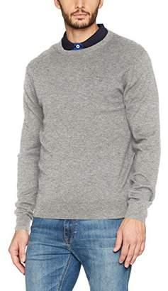 Gant Men's Cashmere Blend Crew Jumper, (Grey Melange), Large