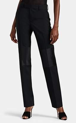 Helmut Lang Women's Satin-Trimmed Wool Tuxedo Trousers - Black