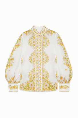Zimmermann Super Eight Floral-print Ramie Blouse - White