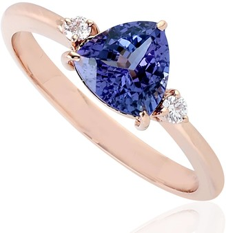 Artisan 14Kt Rose Gold Pear Shape Tanzanite Genuine Diamond Ring