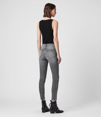 AllSaints Miller Cropped High-Rise Superstretch Shaping Skinny Jeans, Washed Grey