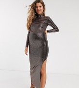 Flounce London Maternity high neck midaxi dress in gold