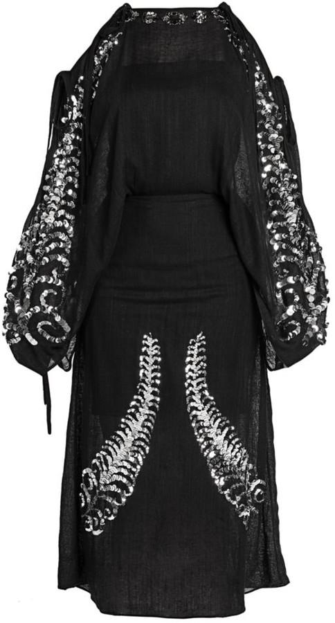 Prada Sequin Embroidered Cold Shoulder Dress