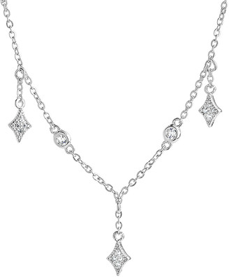 Sterling Forever Silver Cz Pendant Necklace