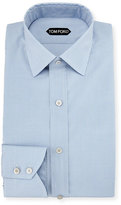 Tom Ford Slim-Fit Micro-Check Barrel-Cuff Dress Shirt, Blue