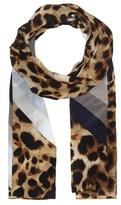 Vince Camuto Leopard & Stripe Scarf