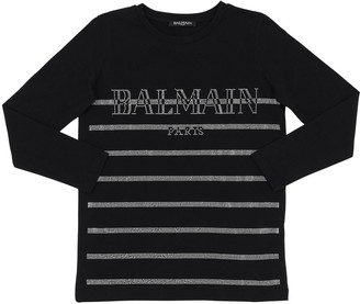 Balmain Embellished L/s Cotton Jersey T-shirt