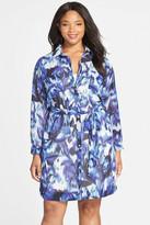 Eliza J Print Pocket Shirtdress (Plus Size)