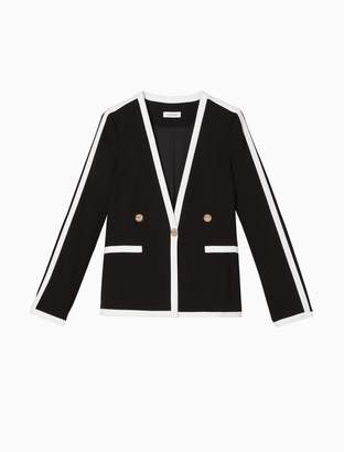 Calvin Klein Contrast Trim Single Button Blazer