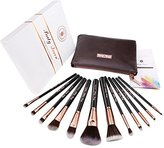 Party Queen Unique Design 12Pcs Makeup Brush Set Silky Density Synthetic Bristles Cosmetic Kit + Luxurious Coffee Leather Case Guaranteed Quality for Flawless Beauty(Rose Golden)