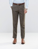 Asos Slim Trousers In Brown Tweed
