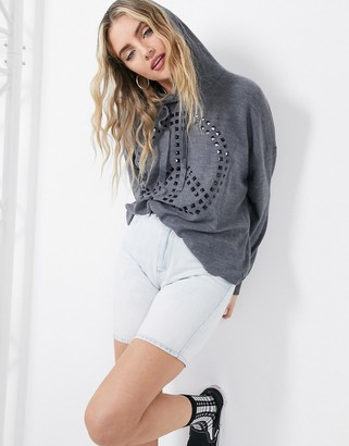 Love Moschino studded logo hooded jumper in grey