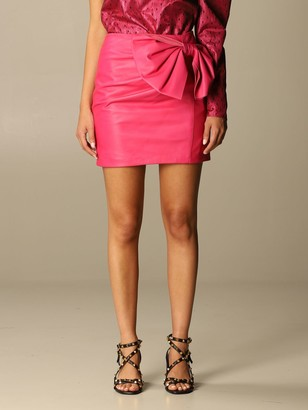 RED Valentino Leather Skirt With Big Bow