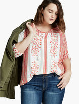 Lucky Brand Floral Border Peasant Top