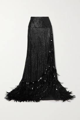 Dries Van Noten Feather-trimmed Sequined Crepe Maxi Skirt - Black