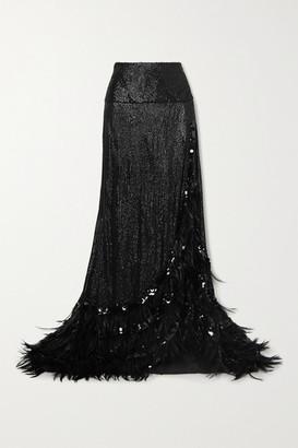 Dries Van Noten Feather-trimmed Sequined Crepe Maxi Skirt - Black