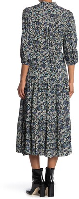 Max Studio Printed Button Front Tiered Maxi Dress