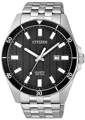 Citizen Quartz Mens Silver Tone Stainless Steel Bracelet Watch-Bi5050-54e Family