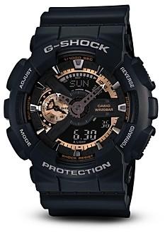 G-Shock Black & Rose Gold Tone Watch, 55mm