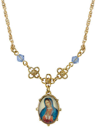 """Symbols Of Faith Gold-Tone Light Blue Small Oval Mary Pendant Necklace 16"""" Adjustable"""