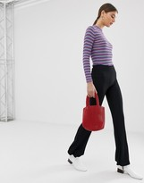 Pieces ribbed flared pants