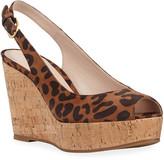 Stuart Weitzman Jean Leopard Slingback Wedge Sandals