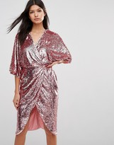 Club L Kimono Sleeve Midi Dress In All Over Sequin
