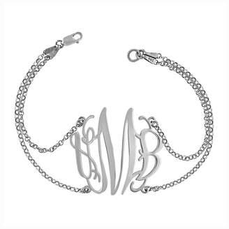 Fine Jewelry Sterling Silver Personalized Monogram Double Chain Bracelet