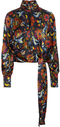 Cinq à Sept Jacqueline Tie-detailed Cutout Printed Silk-satin Blouse