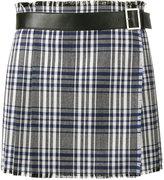 Alexander McQueen mini check kilt skirt - women - Calf Leather/Cupro/Virgin Wool - 40