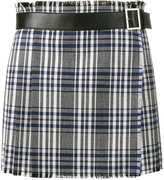 Alexander McQueen mini check kilt skirt - women - Virgin Wool/Calf Leather/Cupro - 40
