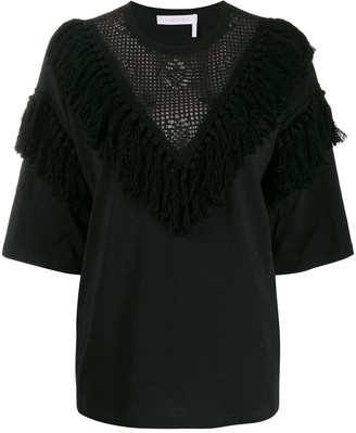 See by Chloe Fringed Lace-Detail Blouse