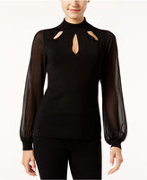 INC International Concepts Petite Illusion-Sleeve Cutout Top, Only at Macy's