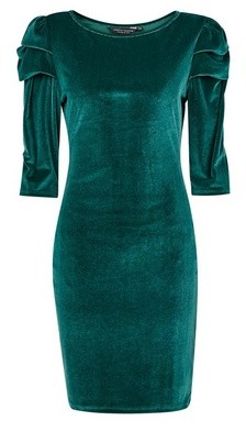 Dorothy Perkins Womens Green Velvet Puff Sleeve Bodycon Dress, Green