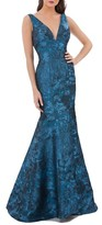 Carmen Marc Valvo Women's Plunging Brocade Mermaid Dress
