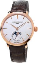 Frederique Constant Fc-703v3s4 Classics Manufacture Slimline Moonphase Rose Gold-plated And Alligator-leather Watch